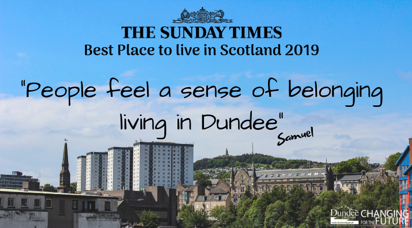 Local people celebrate Dundee being named the Best Place to Live in Scotland 2019 by @thesundaytimes.  #STbestplaces #DundeeIsNow