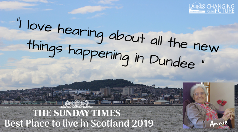 Dundonian Annie loves hearing about all the new things happening in Dundee.  She was delighted to find out that Dundee has been named the Best Place to Live in Scotland 2019 by @thesundaytimes.  #STbestplaces #DundeeIsNow