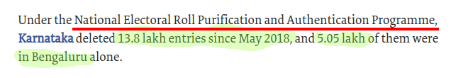 On Karnataka Voter Disfranchisements, 1.38 Million voters deleted in total with 5.05L voter deletions in Bangalore. The real culprit is Algorithm controlled  NERPAP and its aadhaar linked buggy program and software.    cc: @digitaldutta    screenshot from  https://www. thehindu.com/elections/lok- sabha-2019/yet-again-missing-names-haunt-voters/article26881628.ece &nbsp; … <br>http://pic.twitter.com/fCRWEOAnOH