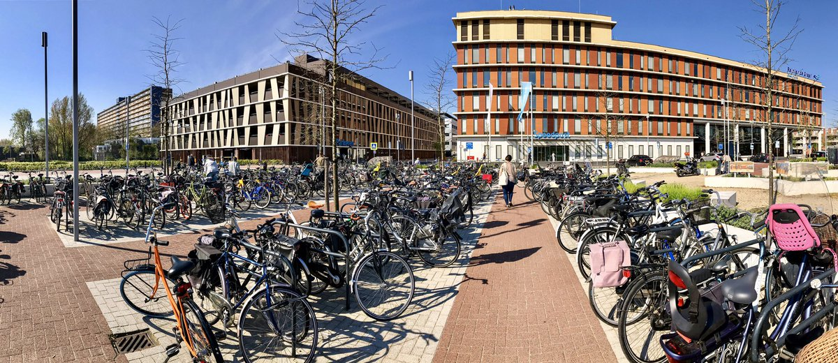 Contrary to popular belief, hospitals treat hundreds of non-emergency patients each day, for whom cycling would be much easier than walking, driving, or public transport.  This is the patient bicycle parking at Delft General Hospital on a Friday morning. The staff park elsewhere.