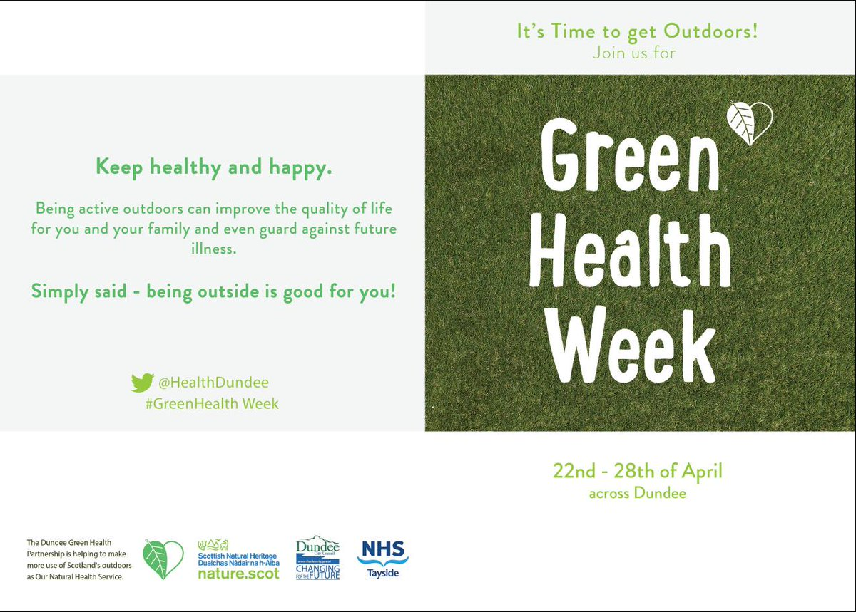 Next week is Green Health Week. It's time to get outdoors & make the most of our green spaces to improve your physical & mental wellbeiing. See what's on. #VolunteerDundee #DundeeTSI #MakeADifference.