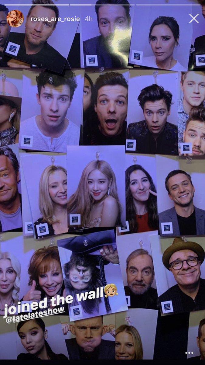 Rosé, do grupo BLACKPINK, postou uma foto de Louis na parede do programa Late Late Show!