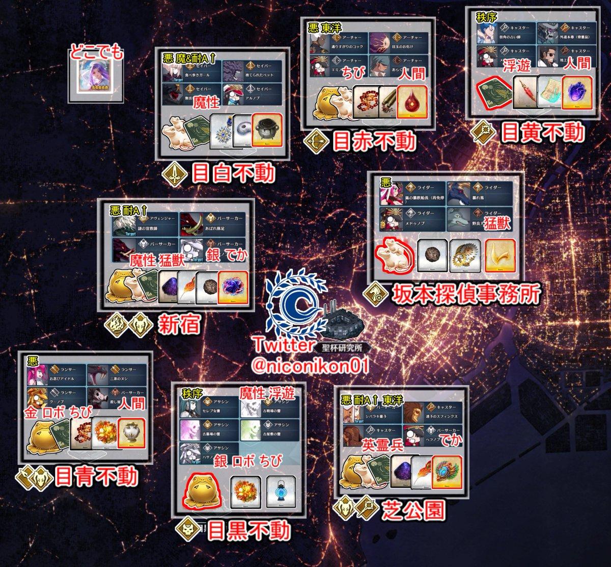 FGOイベント「復刻:ぐだぐだ帝都聖杯奇譚」【02】 04/19 18:00〜 04/26 12:59 裏面 フリクエ、ストーリー最速攻略まとめました 赤色の枠のアイテムがそこが最高効率です 全てのエリアを解放して地上絵を見ような #FGO #FateGO