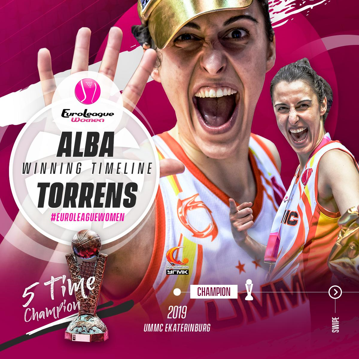 Alba Torrens = 🏆🏆🏆🏆🏆  #Legend #EuroLeagueWomen  📖 http://go.fiba.basketball/ELW_Torrens