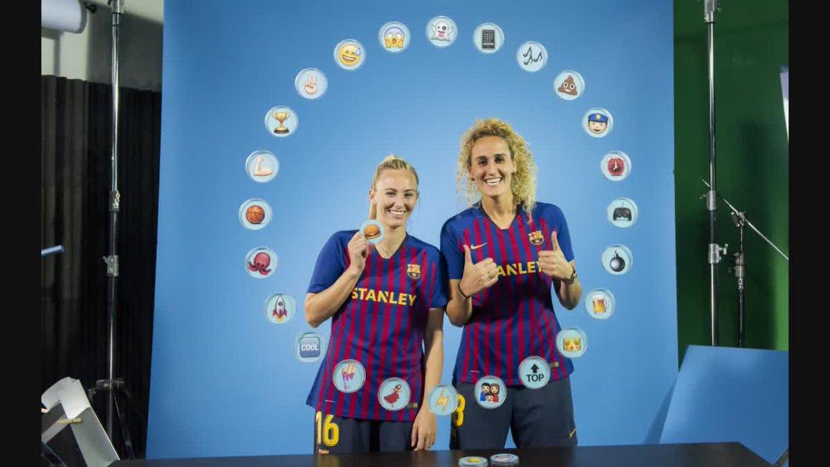 🔵🔴 Barça Emojis: @toniduggan  & @kheirahamraoui    📱⏰🏀 Amb quins emojis han definit les seves companyes?  🦑🏆👻 ¿Con qué emojis han definido a sus compañeras?   Presented by @stanleytools   #FCBFemeni #Wearefootballers