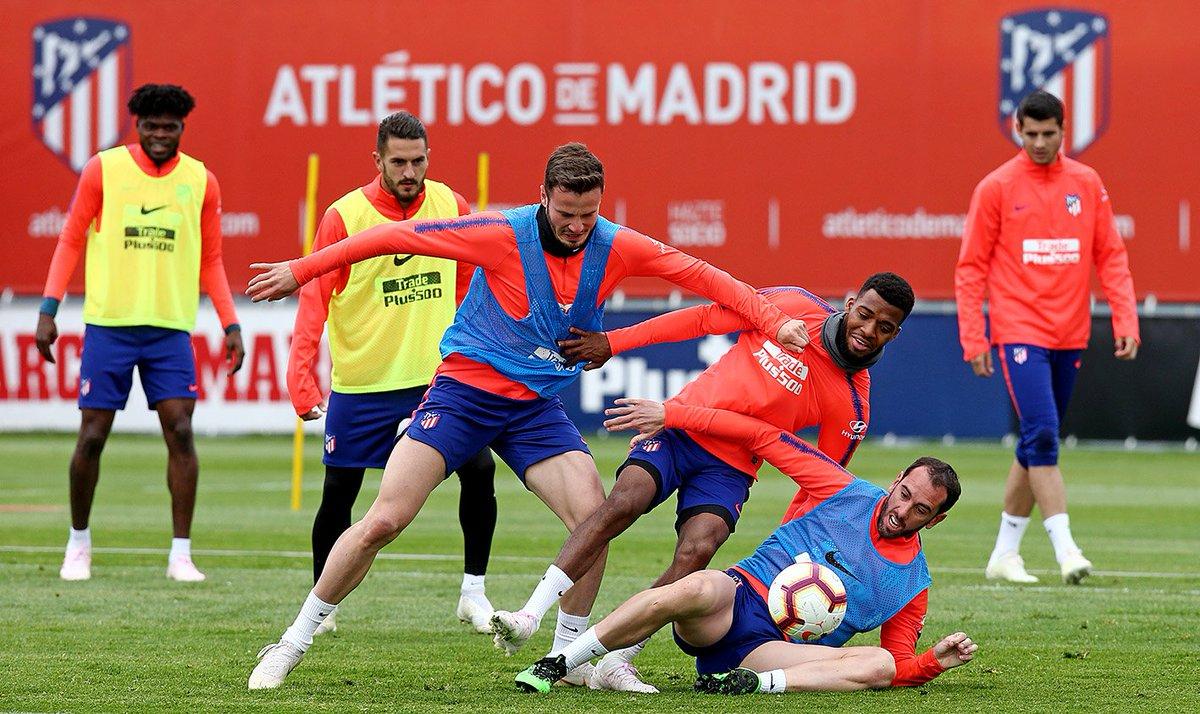 Saúl, Lemar y Godín, en la sesión de este viernes (Foto: ATM).