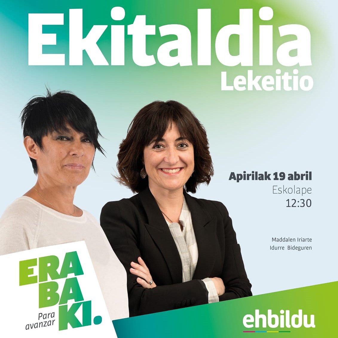 ➡️ GAUR @MaddalenIriarte eta Idurre Bideguren Lekeition izango ditugu hauteskunde kanpainako ekitaldian. #Erabaki #ParaAvanzar