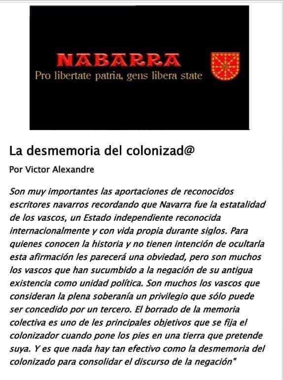 #Nabarra #Nafarroa #Navarra, fue el Estado de los vascos, que por ser vascos, tambien somos nabarros..