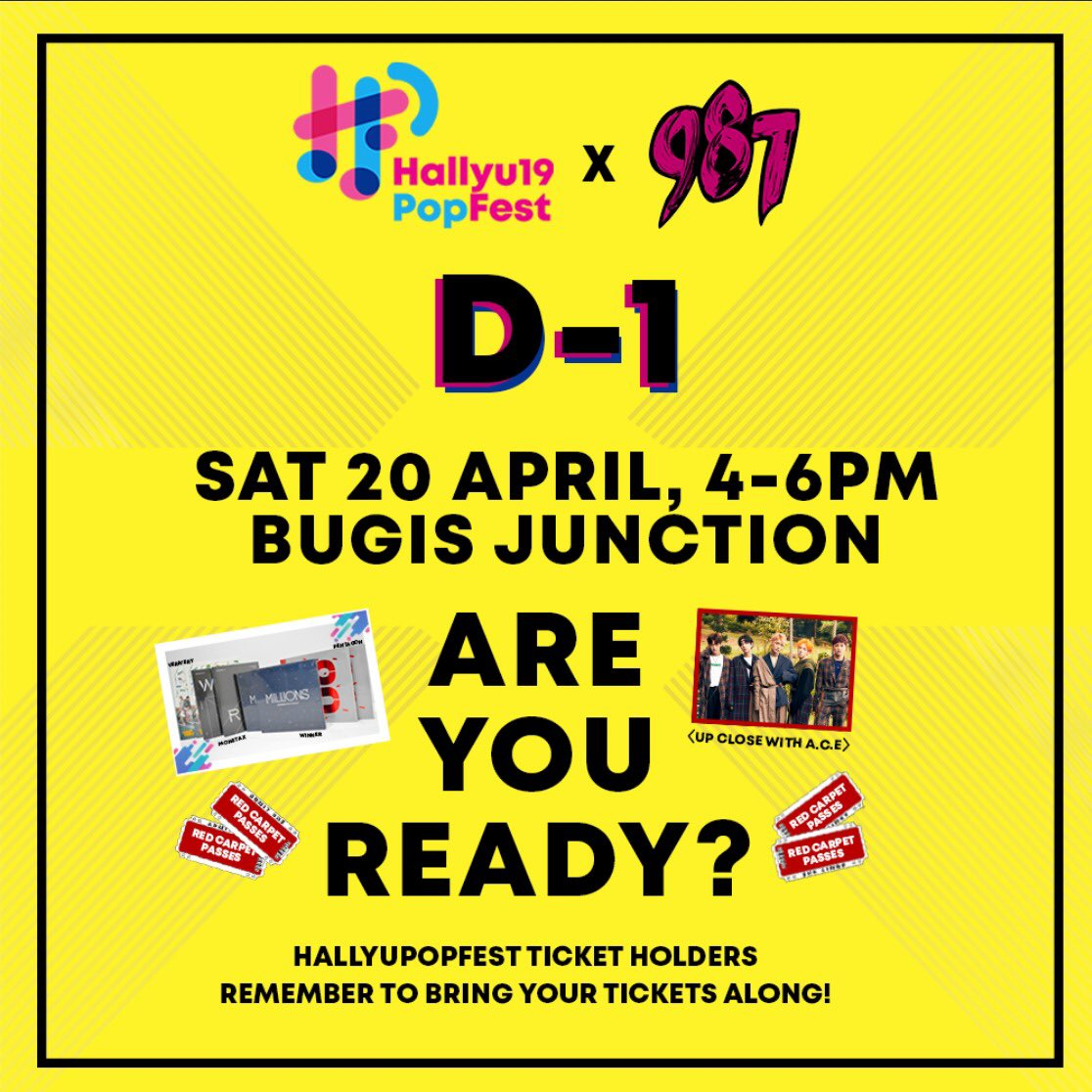 D-1 to HPFx987 event happening tomorrow, 4-6PM at Bugis Junction! Get your Kpop gear ready and win yourself some #HallyuPopFest2019 Artiste Merchandise, exclusive Red Carpet Passes and a chance to get <UP CLOSE WITH A.C.E> on 27 April at Wisma Atria! See you there! 😉✨