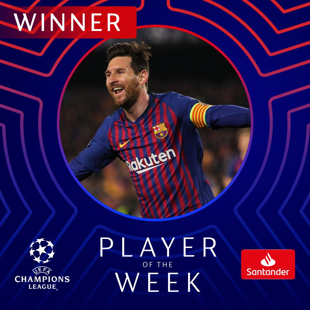 Majestic Messi scoops the prize 🥇  #UCL #POTW @FTBSantander