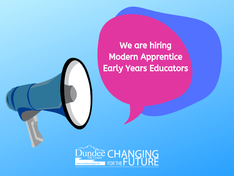 We are recruiting for Modern Apprentice Early Years Educators. Interested? Apply 👉https://bit.ly/2ItFSoI   Closing date for applications is 3rd May 2019.  #JobsVacancies #DundeeJobs #DundeeIsNow