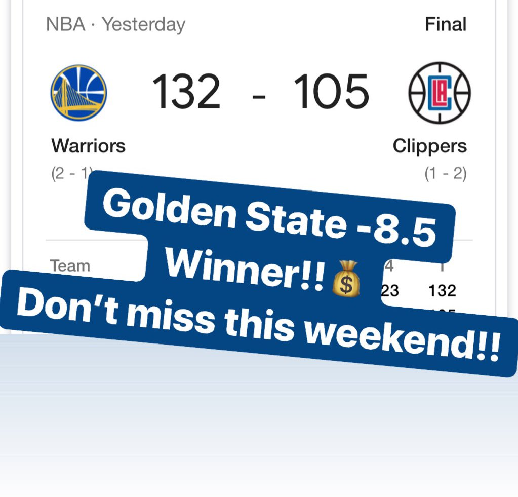 💰GOLDEN STATE -8.5 is a WINNER!!💰🔥MESSAGE us NOW for the $25 Weekend Special or the $59 April Special & receive a 🆓 ATS Tee!!🔥331-119-8🔥#handicapper #ATS #WeWinWhenYOUWIN #sportsbetting #sportsbettingadvice  #ncaabasketball #marchmadness #nba #nhl #mlb