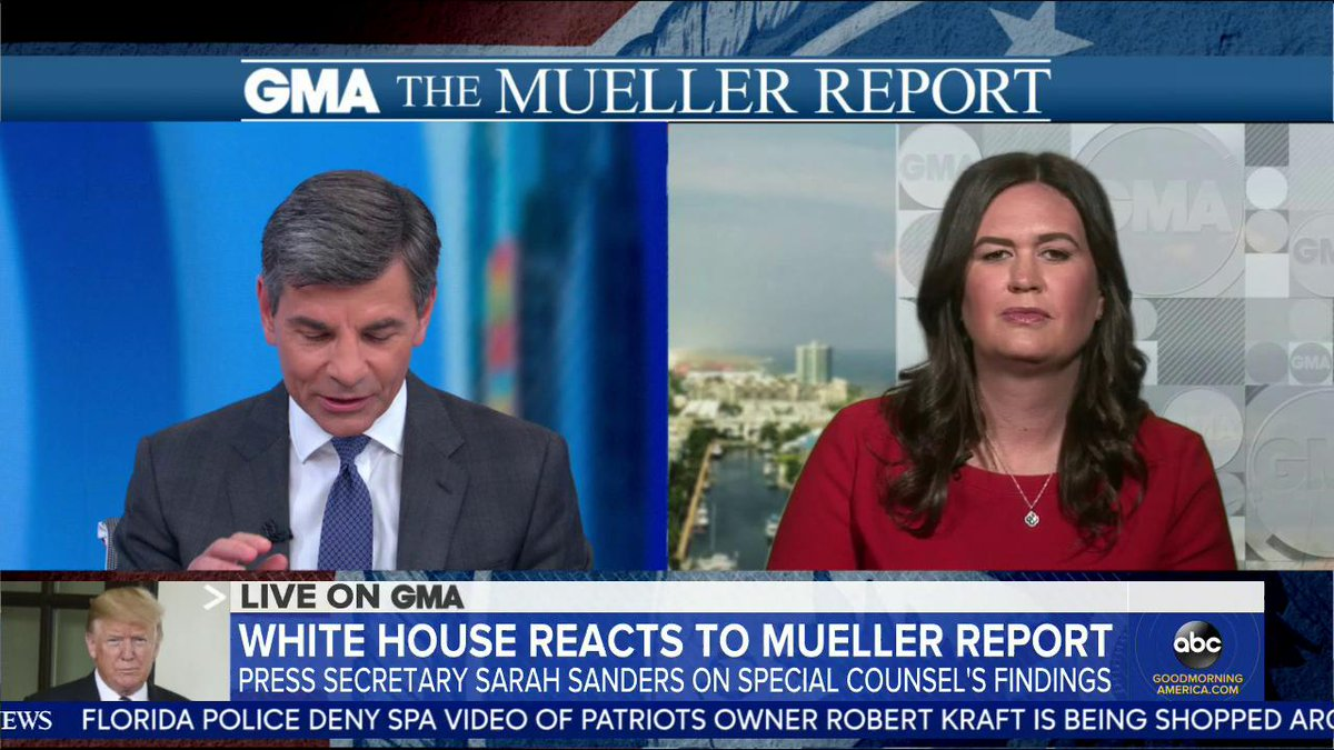"Pressed repeatedly on her comments on FBI agents, Sarah Sanders tells @GStephanopoulos, ""It was the heat of the moment, meaning that it wasn't a scripted talking point. I'm sorry that I wasn't a robot like the Democratic Party"" was about Mueller probe. https://abcn.ws/2XohqZb"
