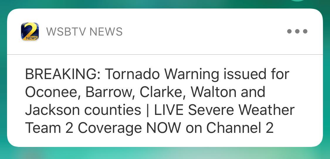 tornado warning issued for oconee, barrow, clarke, walton and