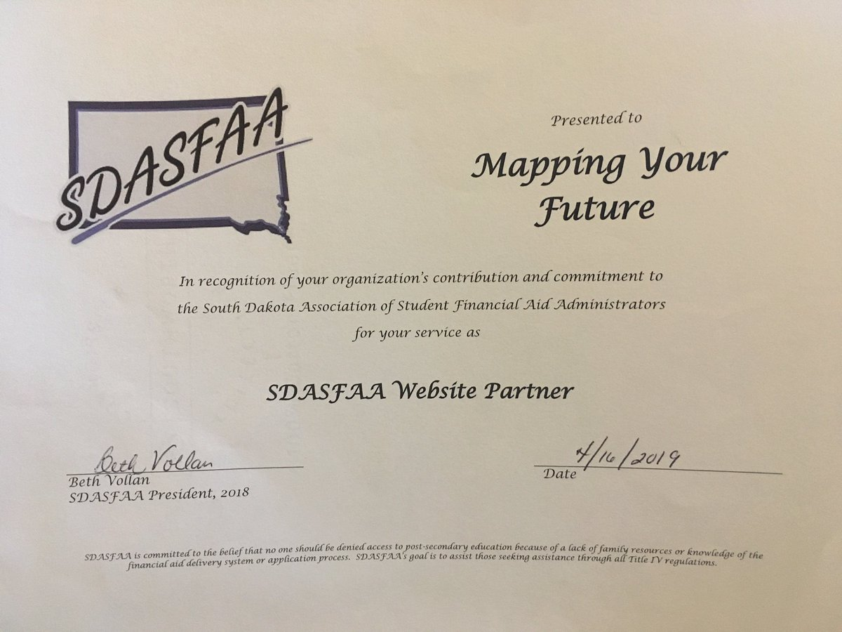 Congratulations to our @MYFinc team for being recognized in contributing to the success of the South Dakota Association of Student Financial Aid Administrators website!
