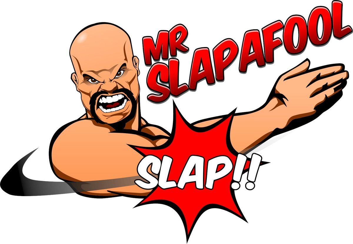 So I have this character design in my head for Slapafool. He is a super hero that goes around Slapping fools... because some fools need slapping. Imagine if Stone Cold was a superhero.  Thanks to @GraphicsPhd for putting my vision together. Seek him for your Graphic Design needs.