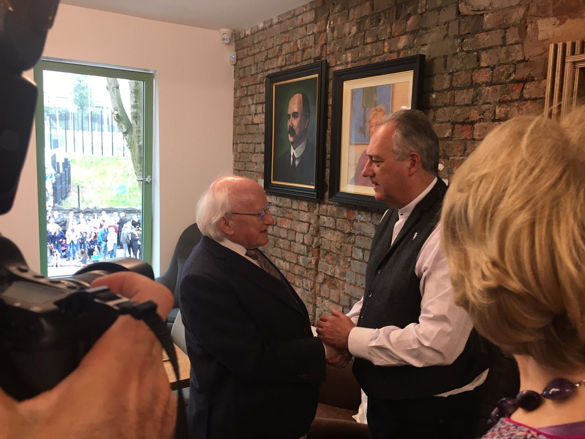 The President of Ireland meets Seanna Walsh, Manager of the new James Connolly Visitor Centre.