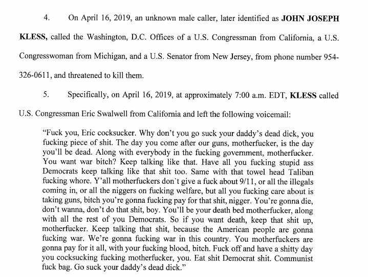 """Florida man arrested for threatening to kill @ericswalwell, @RashidaTlaib & @CoryBooker. """"The day you come after our guns, motherf----, is the day you'll be dead,"""" he said in a voicemail to Swalwell, according to complaint https://www.justice.gov/usao-sdfl/pr/tamarac-resident-arrested-making-multiple-threats-members-congress…"""