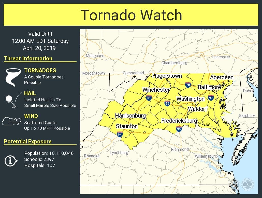 A Tornado Watch has been issued for parts of DC, Maryland, Virginia, and West Virginia. #dcwx #mdwx #vawx #wvwx<br>http://pic.twitter.com/1b0IndCsHS