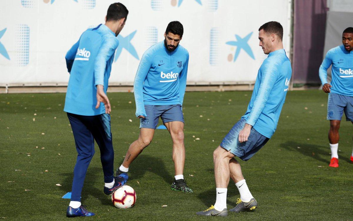 Luis Suárez, en la sesión de este viernes (Foto: FCB).