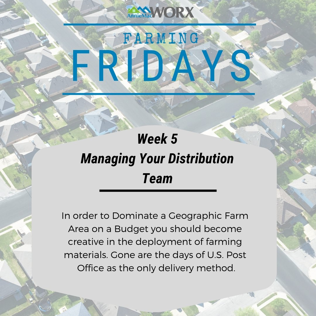 Farming Fridays Week 5: Managing Your Distribution Team ...Join us today @ 10 am &amp; 2 pm ...#anniemac #anniemacworx #class #learn #anniemacnation #realestate  #training #worx #freetraining #coaching #productivity #platform #designations #agent  #broker #loanofficer #mortgage<br>http://pic.twitter.com/RzUrdhGHmW