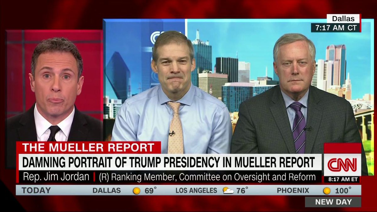 """Analyzing the Mueller report, @ChrisCuomo says: """"Asking matters Jim. If I ask you to punch Mr. Meadows and you don't do it, the request was still wrong.""""  @RepMarkMeadows: """"The request may have been wrong but it's not a crime unless he assaults me""""  Cuomo: """"Is that our standard?"""""""