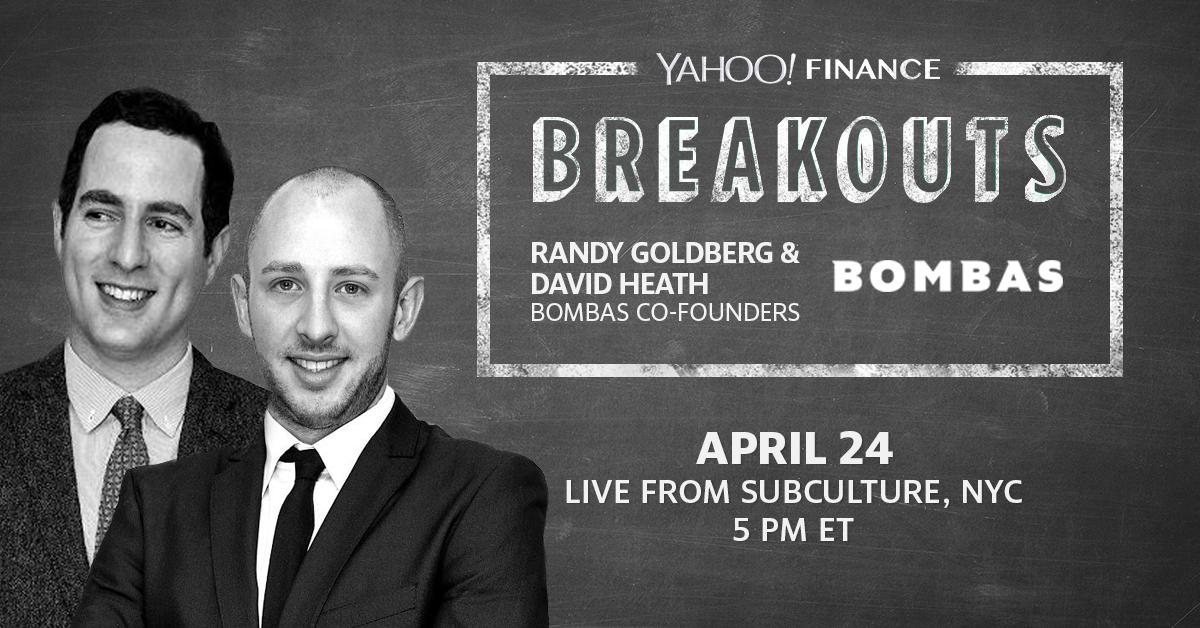 "Come meet @BOMBAS co-founders David Health and @randygoldberg at our next ""Breakouts"" on 4/24 at 5pm ET. Get your FREE TICKETS here: https://yhoo.it/2Xmf5xN  #YFBreakouts #NYC ☕️"
