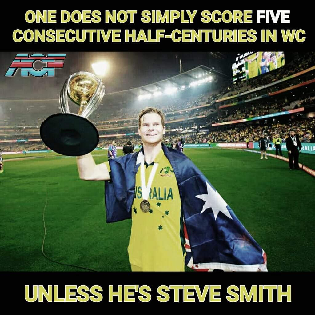 #stevesmith holds the record for the most (5) consecutive 50+ scores in World Cup history. @stevesmith49 @FoxCricket @cricketcomau @7Cricket<br>http://pic.twitter.com/hubgYFhuDM