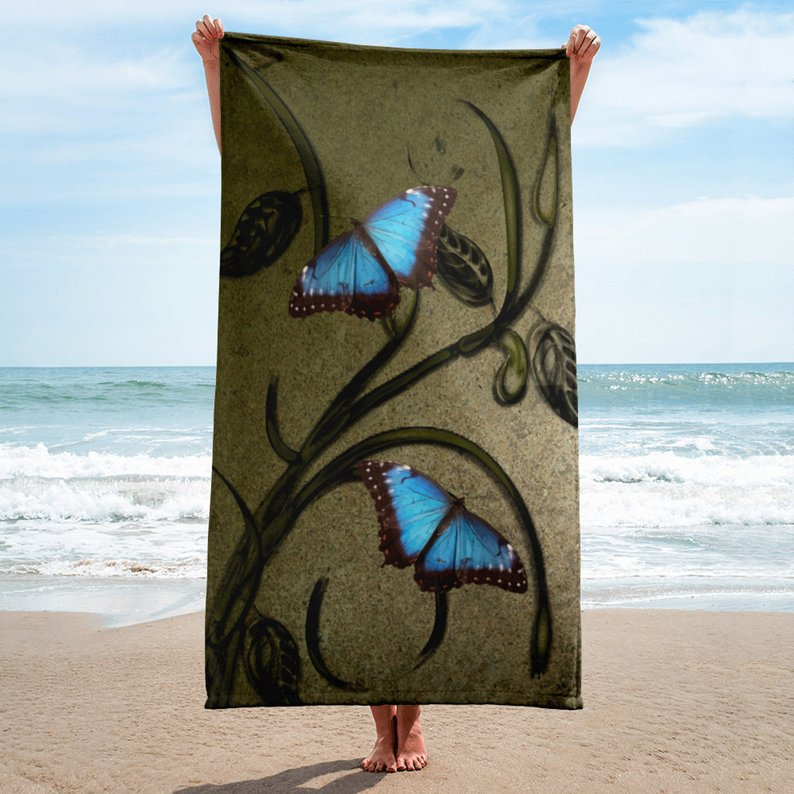 #Butterfly Pair #Beach# Towel - Enjoy your sunny day at the beach with this vibrant beach towel featuring a pair of blue #butterflies against a grunge background. These beach towels are available in four different colors; green, blue, pink, and turquoise. http://ow.ly/EScV50px1VD