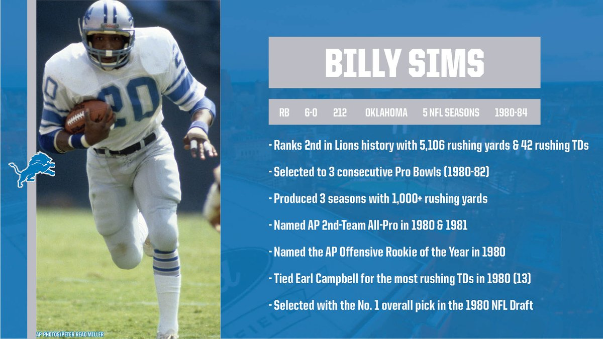 Detroit Lions PR on Twitter: Former @Lions RB Billy Sims will