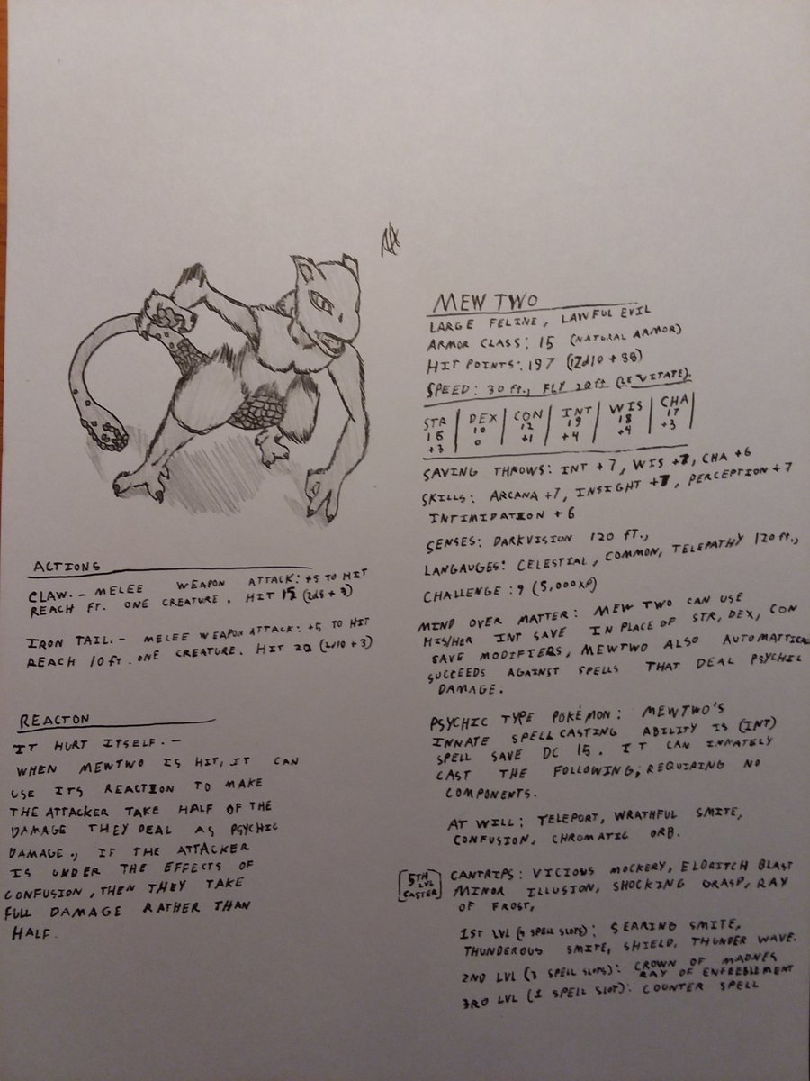 Mewtwo D&D-ified (sorry for dumb handwriting) #DnD #DungeonsandDragons #Art #SmashBrosUltimate