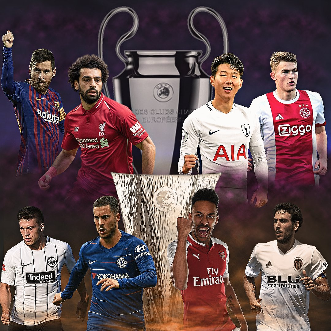 Voici les derniers 8 de #UCL et #UEL 😍  🏴 4 équipes de @premierleague ⚽  #UEFA #ChampionsLeague #EuropaLeague #Barcelona #LFC #YNWA #Spurs #COYS #Ajax #AFC #Eintracht #CFC #Chelsea #ARSNAP #NAPARS #Valencia #LaLiga #EPL #PremierLeague #FPL #LaLiga #Son #Sonaldo
