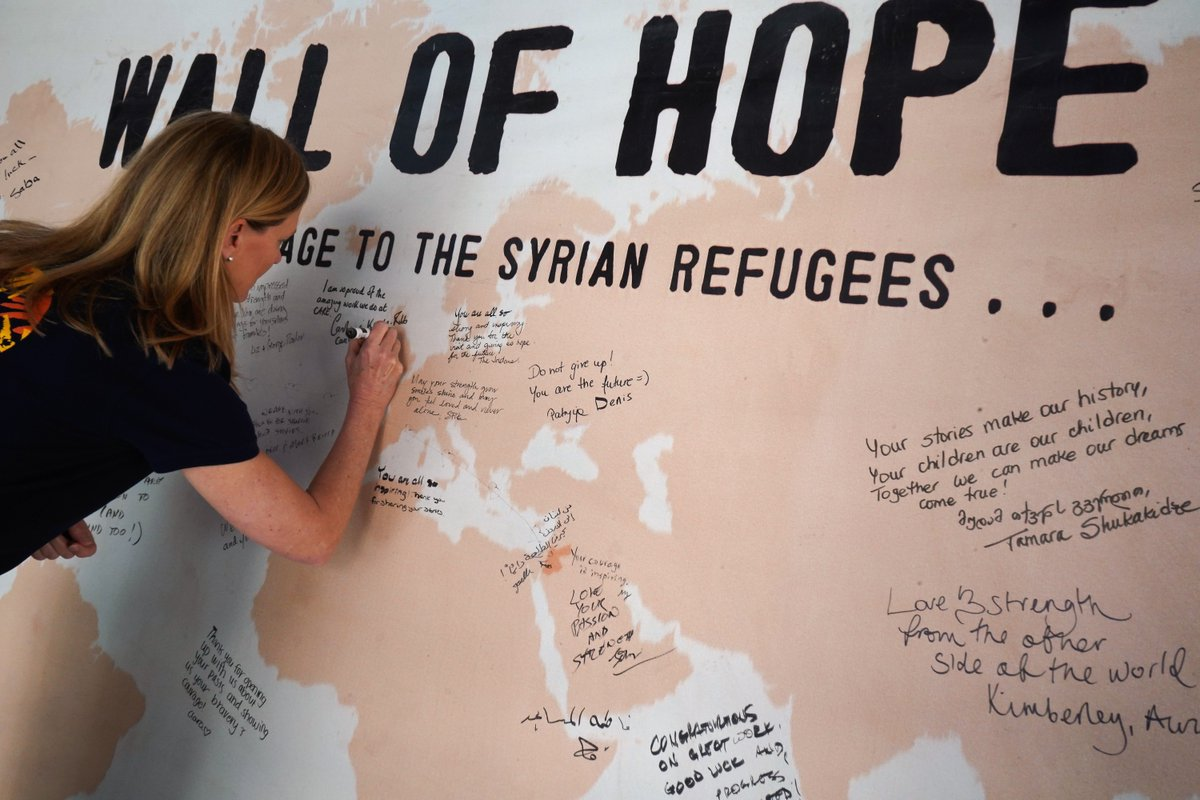 "@CAREJor has put up a ""Wall of Hope"" at its Community Center in Amman for #refugees, the host community & visitors to write their wishes and hopes for the future of #Syria. CARE's SG @CarolineKende wrote her wish. What is yours?"