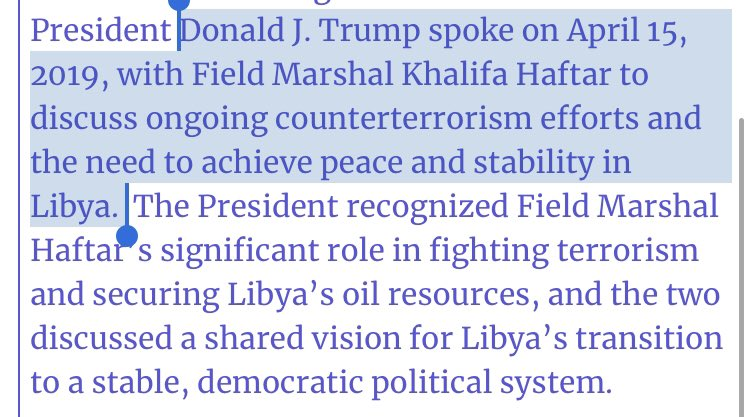 BREAKING: Trump 📞 #Libya Military Commander Haftar 4 days ago (White House not revealing till now).  Haftar leading military campaign to take over capital Tripoli. US & Russia Blocked UN ceasefire  yesterday