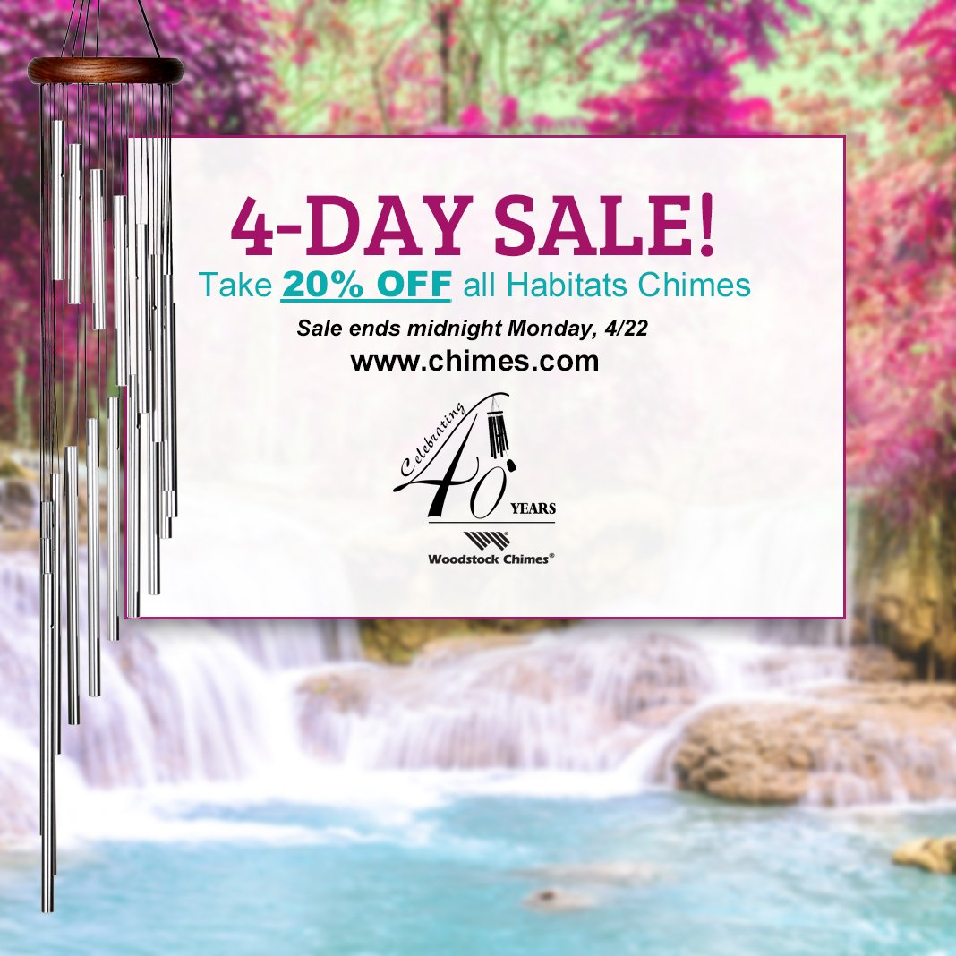 Starting now, take 20% off ALL Habitats #Chimes, festooned with #butterflies, #dragonflies and other natural wonders. Sale ends midnight Monday, 4/22. https://www.chimes.com/sale-corner/ 🦋#mothersdaygifts