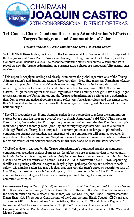 Read statements from @HispanicCaucus Chair @JoaquinCastroTX, @OfficialCBC Chair @RepKarenBass, and @CAPAC Chair @RepJudyChu on the global repercussions of the Trump Administration's anti-immigrant agenda ↓ https://bit.ly/2KPhfVu