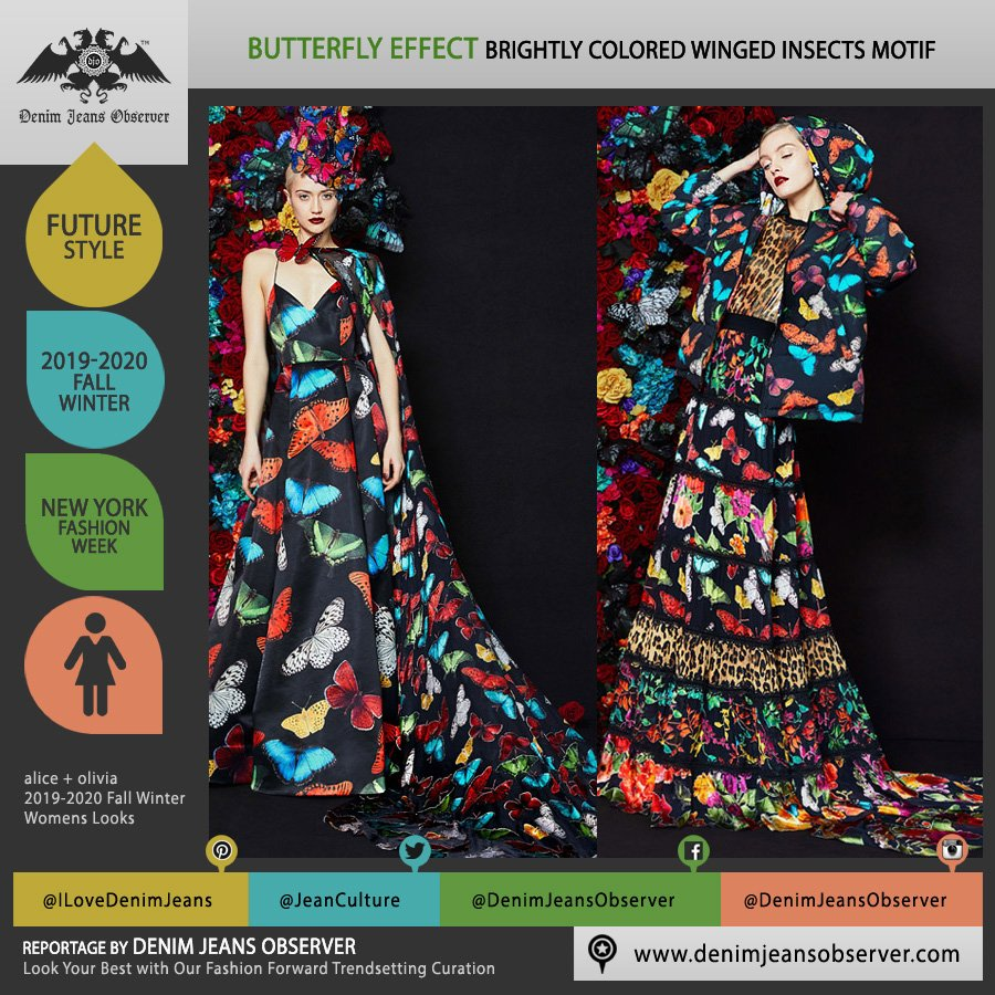 alice + olivia 2019-2020 Fall Autumn Winter Womens Lookbook Presentation - New York Fashion Week NYFW - Fantasia Butterflies Trompe L'oeil Insects Butterfly Wings Print Motif Dress Skirt Hoodie Noodle Strap   - Fashion Forward Trendsetting Curation by Denim Jeans Observer