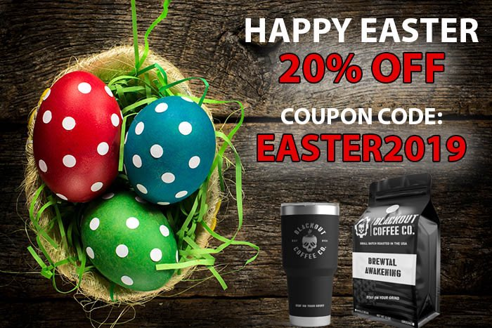 """🎉 Celebrate EASTER 🐰 with BLACKOUT COFFEE CO 🎁  20% DISCOUNT CODE: EASTER2019 http://blackoutcoffee.com/john ☕️ """"Fueling America with the best, fresh coffee so you can stay on your grind!"""" #HappyEaster #couponcode #sale #coffee #giftideas"""
