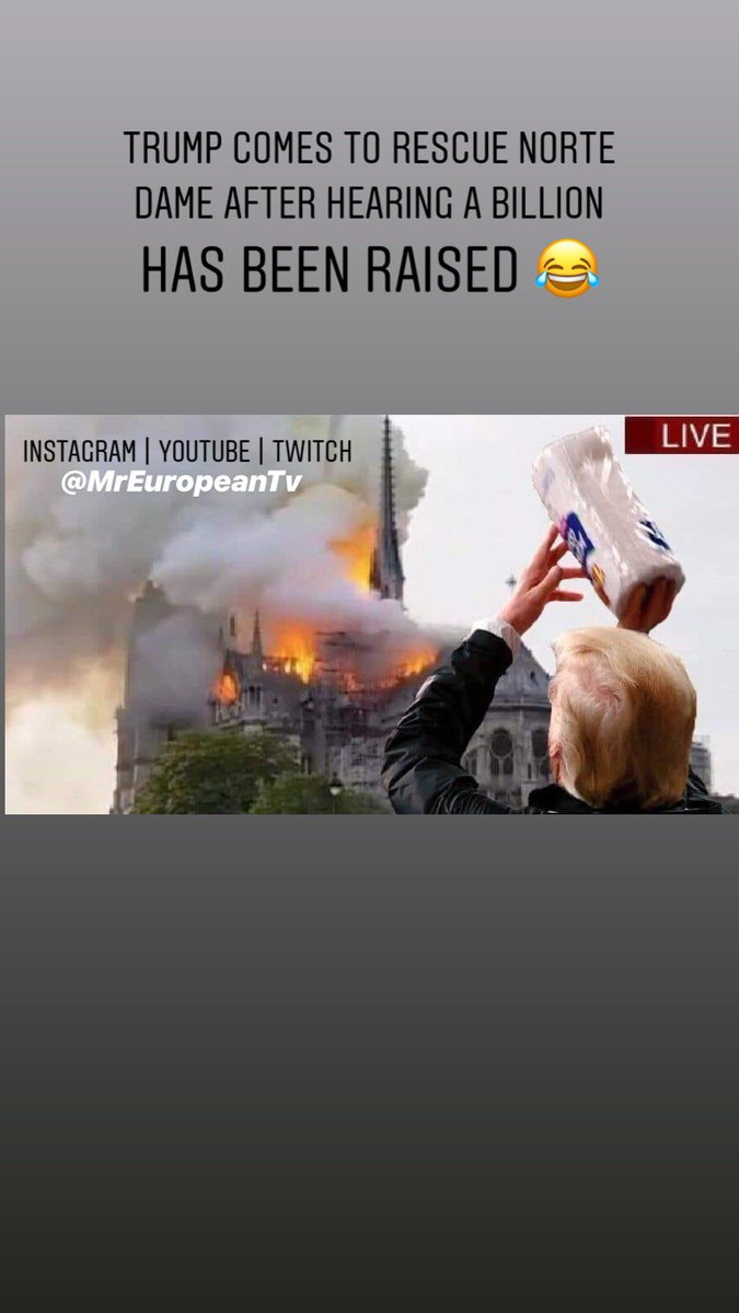 Don't worry Here comes Trump to help. somebody send this to @pewdiepie 😂 🤷🏻♂️#trump #donaldtrump #nortedame #nortedamecathedral #france #paris #memes #memesdaily #dailymemes #funnymemes l #pewdiepie #gamer #gaming #streamer #twitchstreamer #trumpmemes #tagafriend #followme