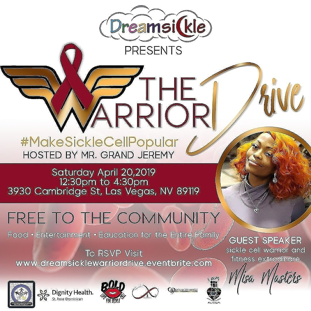 This Saturday,  if you are in #LasVegas, #Henderson, #Summerlin  come out to the #WarriorDrive, #FREE community event RSVP at link in photo.   #SickleCellAwareness  #MakeSickleCellPopular  ❤🌙❤🌙❤🌙❤🌙❤🌙