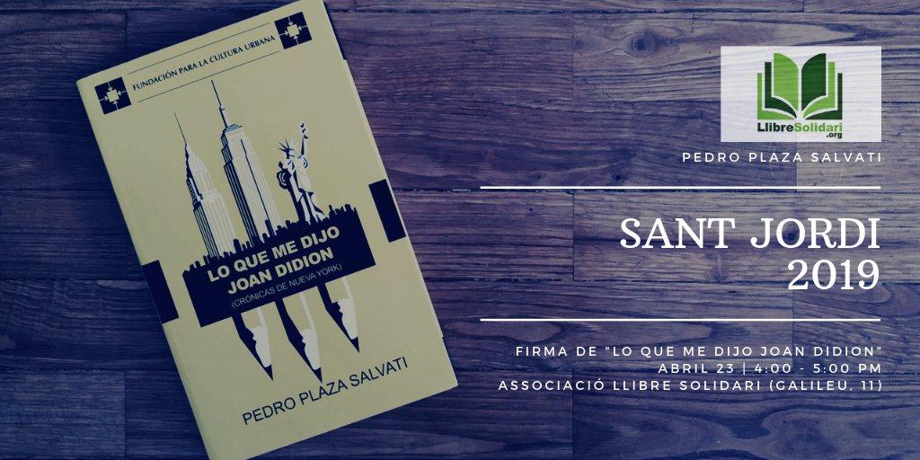 """#Literatura Corran la voz: el venezolano @PlazaSalvati firmará ejemplares de """"Lo que me dijo Joan Didion"""" (@CulturaUrbana) este #SantJordi (4:00 - 5:00 PM) en la Librería #LlibreSolidari de Sants."""