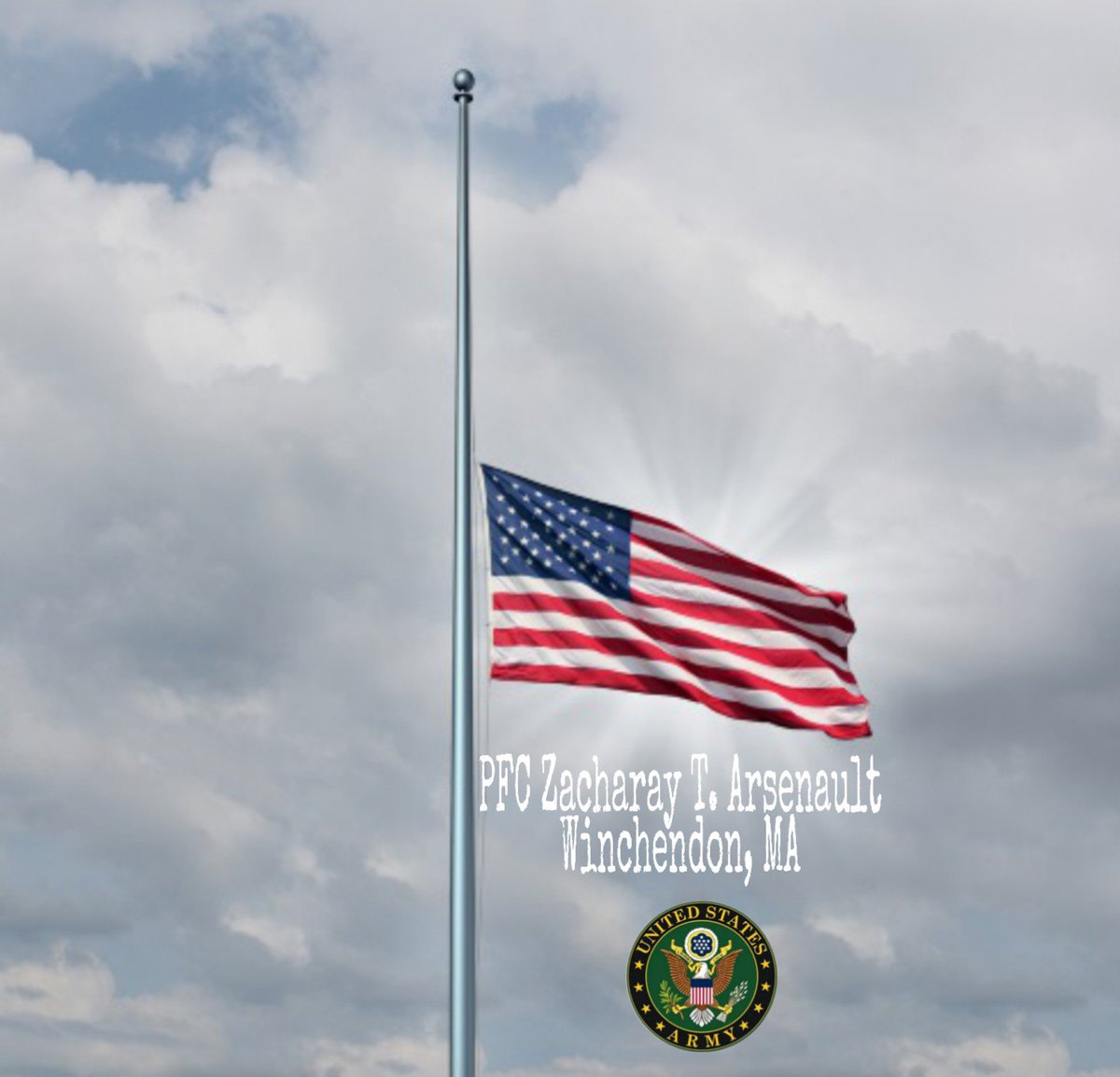 Half Staff Notice:  Massachusetts Governor Charlie Baker has ordered United States & Commonwealth flags lowered to half staff on Saturday, April 20, 2019, in honor of @USArmy PFC Zacharay T. Arsenault of Winchendon, Massachusetts.   https://www.stone-ladeau.com/notices/ZacharayT-Arsenault… – at Massachusetts Department of Veterans Services
