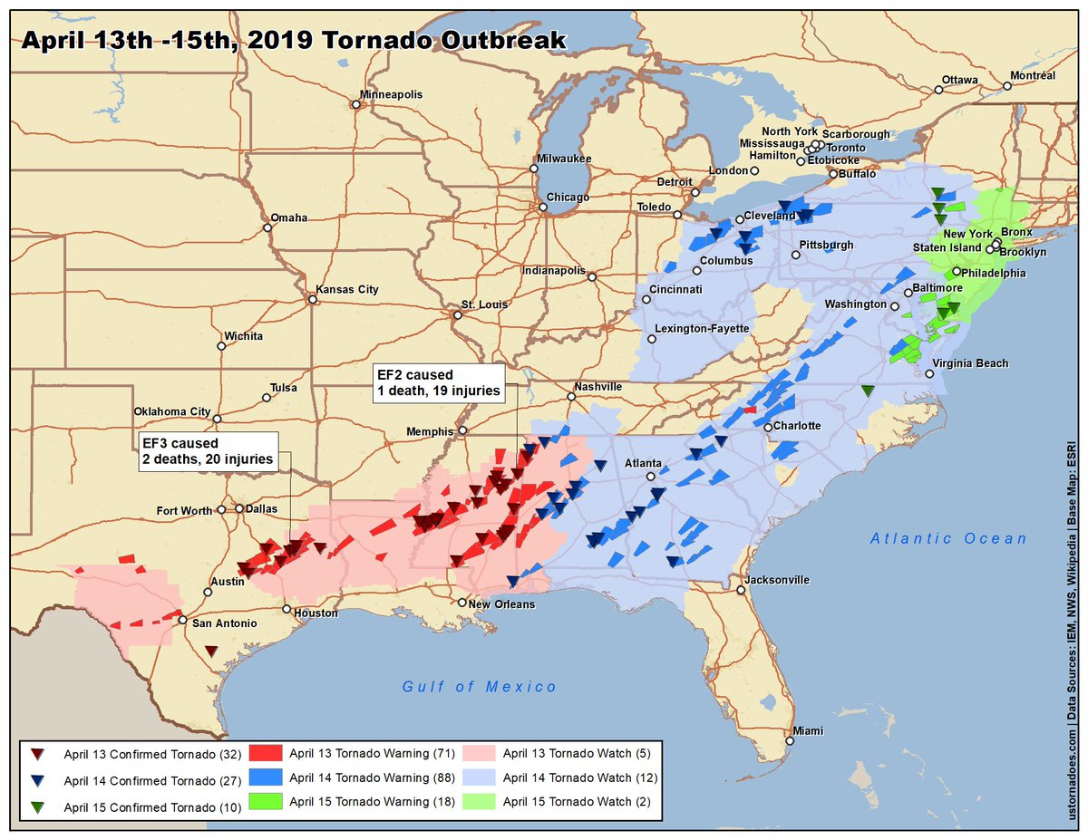 Us Tornadoes On Twitter Updated Outbreak Map For April 13 15 - Us-tornado-map