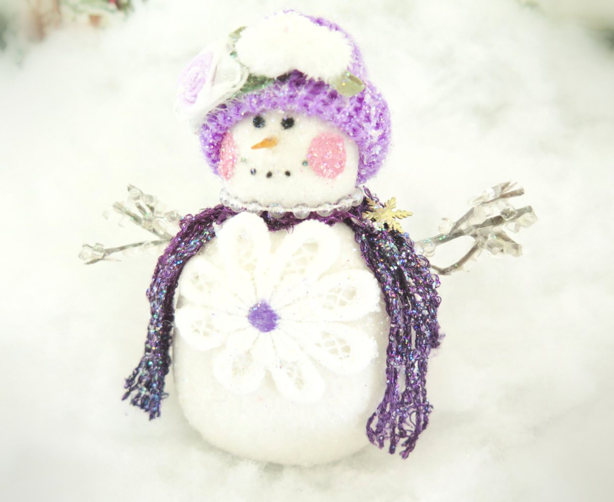 "Sharing the latest addition to my #etsy shop: Snow Lady Ornament 5"" Handmade Snowman Fleece Snow Lady Christmas Snowman Icicle Arms Christmas Handmade CharlotteStyle DecorativeFolk Art https://etsy.me/2Vb3J2d  #housewares #homedecor #purple #office #white #chri"