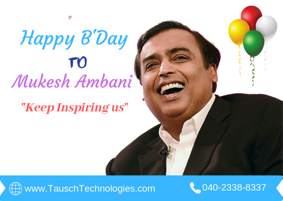 Happy Birth Day to Mukesh Ambani Thanks for making Digital India. Your free data plan on JIO network really help many small businesses grow online on social media. Thanks for giving digital life to many small businesses in India. Keep inspiring us. #birthdaymukeshambani #birthday