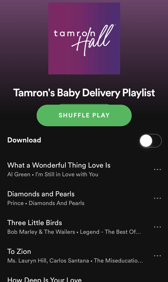 #FeelGoodFriday: @tamronhallshow asked me for a delivery room playlist! Go to their page to see the full list on @spotify and add more songs before the baby arrives!
