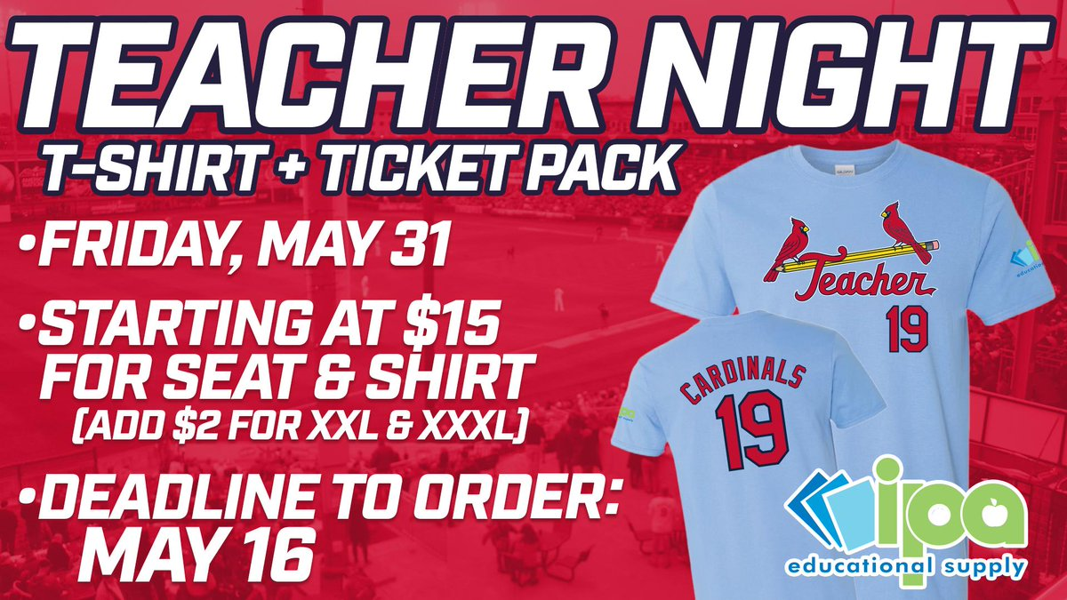 Teacher Night @Sgf_Cardinals is THE BEST! T-shirts & tickets for the smartest night at the ballpark! @officialSPS