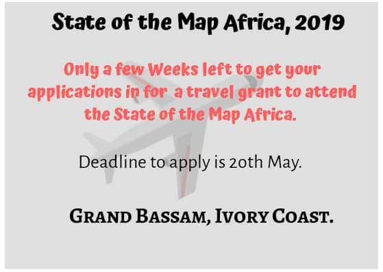 The call for scholarships is still open for applications. Submit your application to attend the SoTMAfrica 2019 in Grand Bassam Ivory Coast. The deadline for the application is midnight(GMT) 20th May, 2019. Apply here https://forms.gle/BhX51ePbZZr3scTX8 …  #SoTMAfrica #SoTMAfrica2019