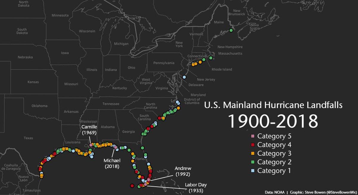 Steve Bowen On Twitter Updated Map Of Us Mainland Hurricane - Us-hurricane-landfall-map