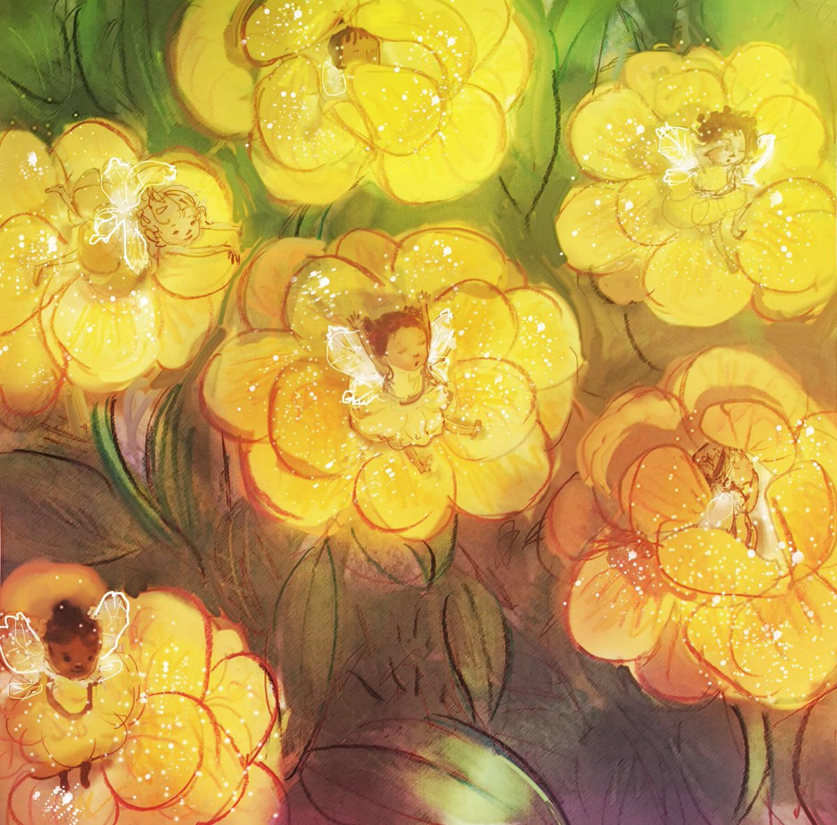 A little early for #colour_collective today, as I am chauffeuring teenage girls to the mall today (yay?).  When these flowers #bloom, #fairies awaken. #lemonyellow #illustration #kidlitart It is also for #scbwidrawthis Happy Friday! #fairygarden #blooms<br>http://pic.twitter.com/Q4W3e9krbP